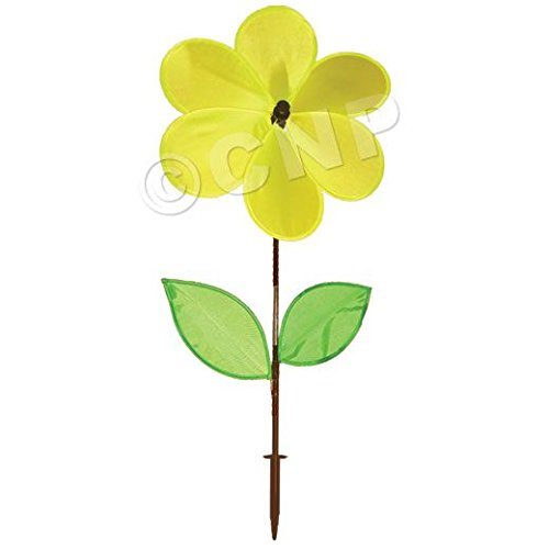 Yellow Flower Windmill- Metal Decorative Spinner for Yard & Garden