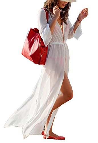 Suit Long Extra - Wander Agio Womens Bikini Cover Ups Beach Coverup Swimsuits Sunscreen Long Top Button White