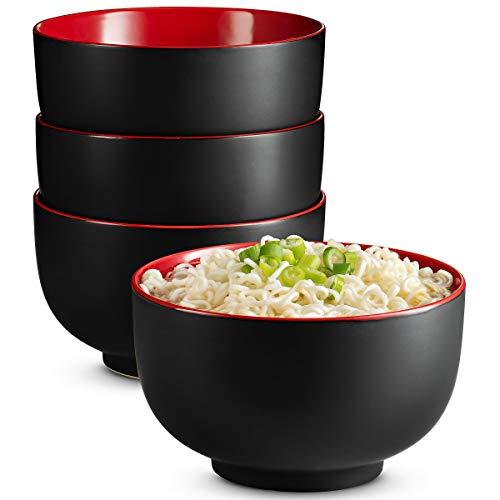 KooK Japanese Ceramic Noodle Bowl, Pho, Ramen, Deep Interior, Black and Red, Holds 32oz, Set of 4