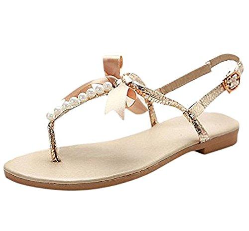 Perle Tongs Voyage Plage Été Bowknot Sandale Or Chaussure Fille Minetom Plate Femme pwUIqag