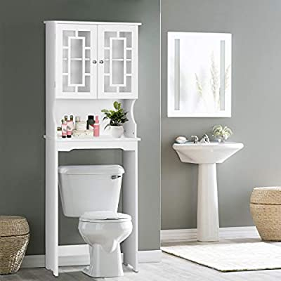 Giantex Over-The-Toilet Bathroom Storage Space Saver with Shelf Collect Cabinet, White (2 Door w/Delicate Design Shelf)