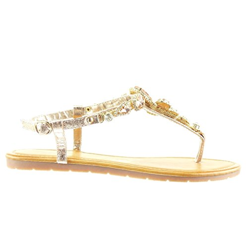 ... Angkorly - Chaussure Mode Sandale Tong salomés femme bijoux strass  diamant Talon plat 1.5 CM ...