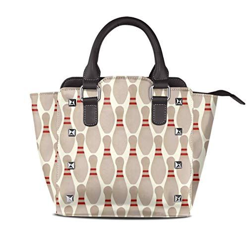 Women's Synthetic Leather Rivet Shoulder Bag Bowling for sale  Delivered anywhere in USA