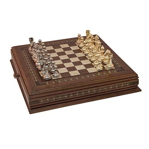 Helena Wood Art Classic Chess Set with Metal Figures | Walnut ()