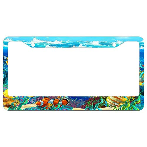 Reef License Plate - Custom Auto Frames Tropical Fish Underwater Coral Reef License Plate Frame for Women/Men, Aluminum Metal Car Licenses Plate Cover for Front or Back License Tag