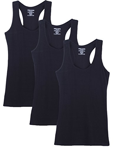 Caramel Cantina 3 Pack Cotton Racerback Tanktop (Small, 3PK Black)