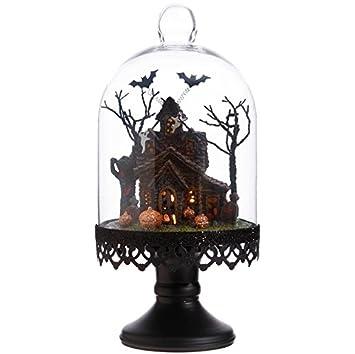 raz imports halloween decor lighted haunted house cloche