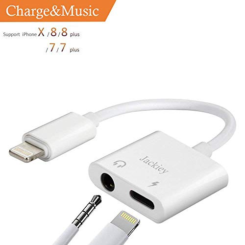 Jackiey 3.5mm Earphone Audio&Charger Splitter Adapter, Double Headphone Jack Adapter, 2 in 1 Audio Charger Adapter for XR/XS/XS Max/X 8 7 6 Plus Converter to 3.5 mm Earphone, Compatible for 12