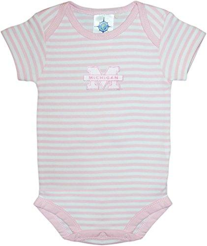 University of Michigan Wolverines Striped Baby Bodysuit Pink ()
