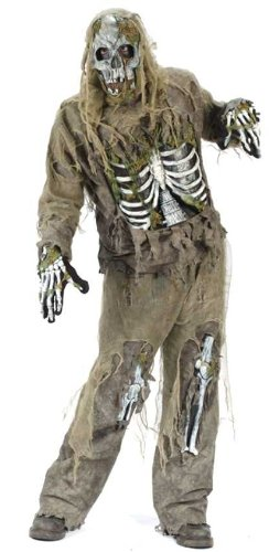 5-Piece Scary Skeleton Zombie Halloween Costume Teen One Size (0-9) #1663
