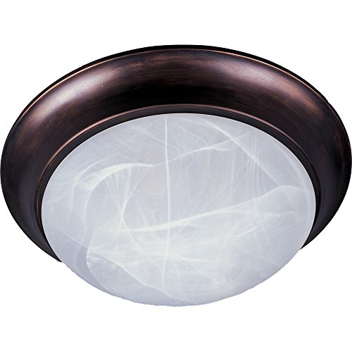 (Maxim 5850MROI Essentials 1-Light Flush Mount, Oil Rubbed Bronze Finish, Marble Glass, MB Incandescent Incandescent Bulb , 40W Max., Dry Safety Rating, 2900K Color Temp, Standard Dimmable, Glass Shade Material, 4500 Rated Lumens)