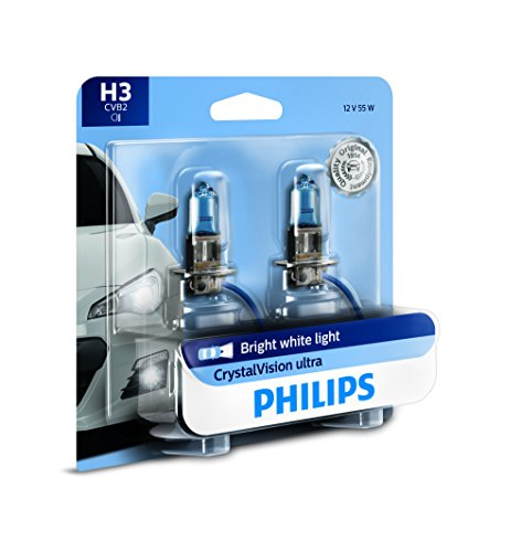 Philips H3 CrystalVision Ultra Upgraded Bright White Headlight Bulb, 2 Pack
