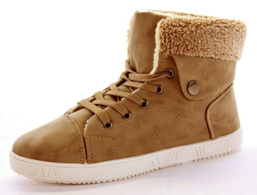 Womens Trainer Flat Lace up Ankle High Top Style Boots Shoes Size 3 - 8 Camel / Tan