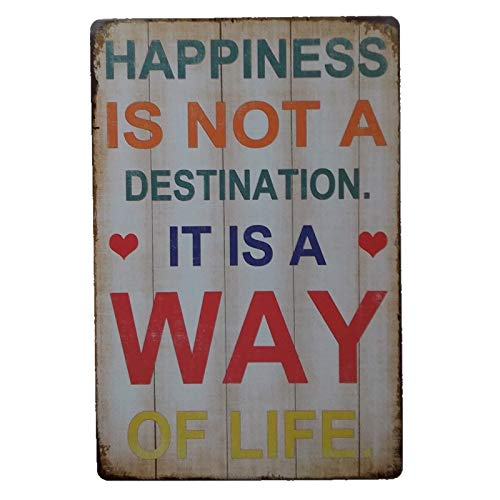 tin home decor.htm amazon com ayz happiness is not a destination  it is a way of  amazon com ayz happiness is not a