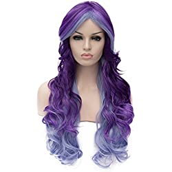 Alacos 70cm Purple Ombre Light Blue Long Heat Resistant Hair Multicolored Cosplay Wigs for Women+ Wig Cap