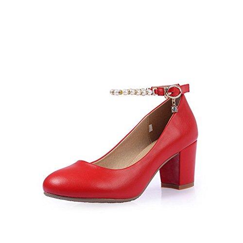 Allhqfashion Womens Pu Tacchi A Spillo Tacco Tondo Scarpe Con Fibbia Tinta Unita Scarpe Rosse