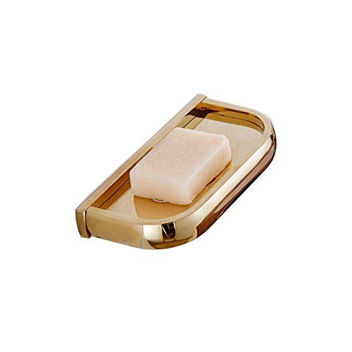 Aothpher Wall Mounted Bath Soap Dish Holder Corrosion-resistance Gold Polished