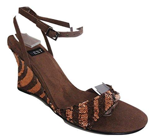 Zeppa Paillettes Strappy Brown next Chestnut Sandalo Multi Ex Ftfxpx