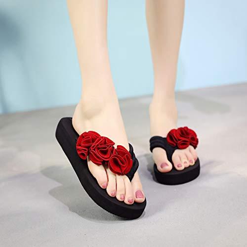 Infradito 9 Fondo Sandali Estivo Sul Shoe Nazionale Donna Piatto E Con Fiore 10 Vento Da Rosso Casual Donna Versatile Ciabatte Qsy a65wq
