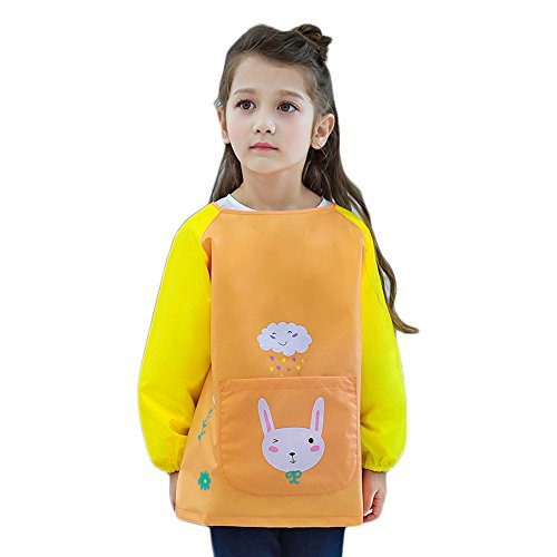 (Kids Waterproof Art Aprons Children Painting Smock with Long Sleeves for Painting and Baking, 6 Kinds of Lovely Animals Pattern - Washable & Reusable (S, Yellow Rabbit))