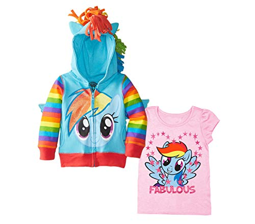 My Little Pony Hoodie T-Shirt - 2 Pack of Hasbro MLP Girls Hoodie and T-Shirt - Rainbow Dash, Twilight Sparkle, Pinky Pie (Blue/LightPink, 4T)