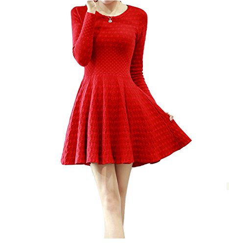 celebritystyle Red Textured Fit and Flare Knit Dress See Measurements (S, Red)