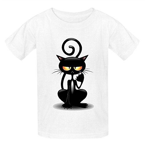 Chas Cattish Angry Black Cat Cartoon Teen Crew Neck Customized Shirts White