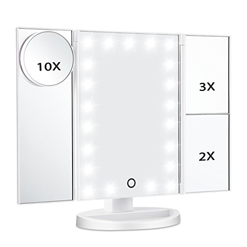 Magicfly Led Lighted Makeup Mirror, 10X 3X 2X 1X Magnifying Mirror 21 LED Tri-Fold Vanity Mirror with Touch Screen and 180° Adjustable Stand, Brightness Travel Beauty Mirror - Vanity Stand