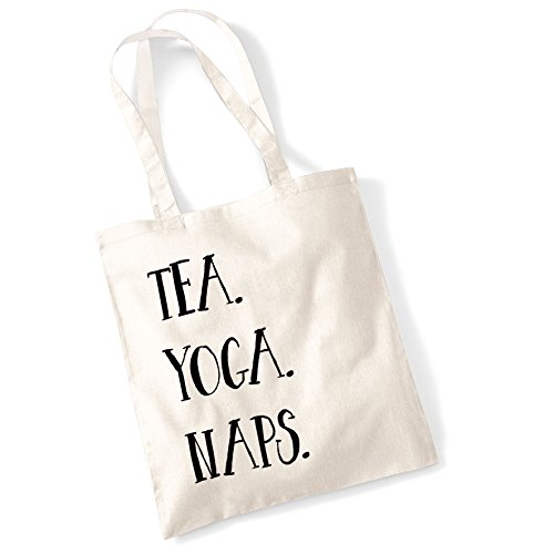 Tote Bags For Women Tea. Yoga. Naps. Printed Cotton Shopper Bag Gifts Natur