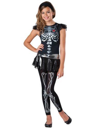 Skeleton Bling Girls Costumes (Girl's Skeleton Costume - Skeleton Bling Costume (10-12 with Bracelet for Mom) by In Fashion Kids)