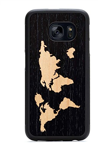 Fit Traveler (Galaxy S7 Ebony World Map Inlay Wood Traveler Case by Carved, Unique Real Wooden Phone Cover (Rubber Bumper, Fits Samsung Galaxy S7))