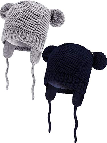 Zhehao 2 Pieces Baby Beanie Toddler Warm Knit Hats Fleece Lined Animals Shape Caps with Earflap for Boys and Girls Winter Supplies (Navy Blue and Grey, 6-12 Month Size)