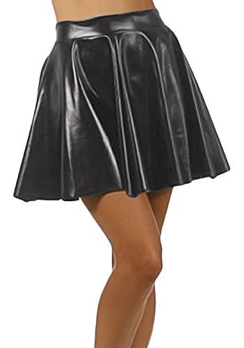 [Marvoll Women's Club Metallic Shiny Skirt Circle Liquid Mini Wet Look (Kids Small, Black)] (Spider Girl Bodysuit Costume Small)