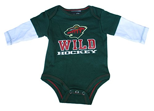 Minnesota Wild Infant Onesie Size 12 Months Long Sleeve Bodysuit Creeper - Green - Minnesota Wild Long Sleeve