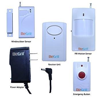 begrit inalámbrico Entrada Sistema de Alerta Ultimate Kits de Timbre, PIR Detector de Movimiento Sensor + Ventana/Puerta + Botón de Emergencia Incluye: ...