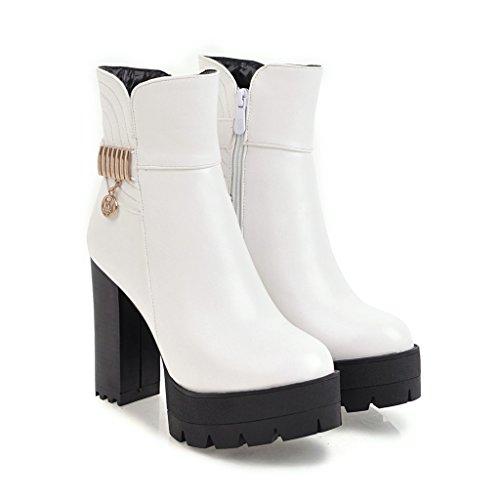 con Botines Señaló Qin Mujer Heel la White Toe Plataforma amp;X Bloque Zapatos Tacones pprq1nvW