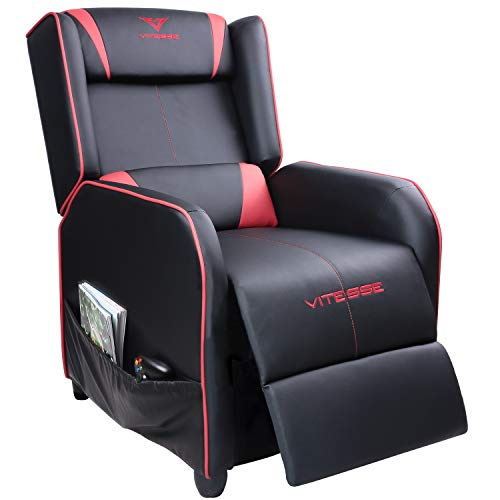 Vitesse Gaming Recliner Chair Racing Style Single Ergonomic Lounge Sofa Modern PU Leather Reclining Home Theater Seat for Living & Gaming Room (Red)