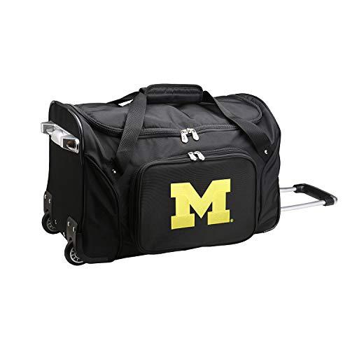 NCAA Michigan Wolverines Wheeled Duffle Bag, 22 x 12 x 5.5, Black (Michigan Wolverines Gym Bag)