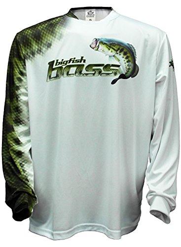 Bigfish BASS SCALES White UPF50 Long Sleeve Performance Fishing Shirt