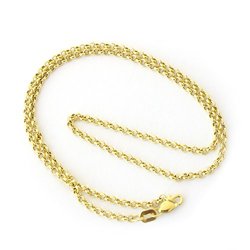 Beauniq 14k Yellow Gold 2.4mm Round Rolo Chain Necklace, 22