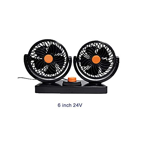 decwang Electric Car Fan with 2 Meter Cable, Dual Head 12V/24V Car Auto Cooling Air Circulator, 360° Rotatable Auto Fan 10W / 20W Universal