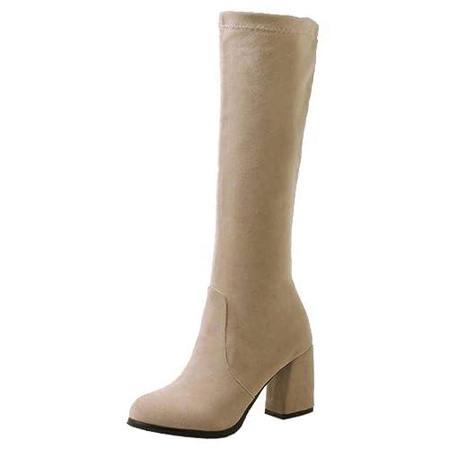RAZAMAZA Mujer Simple Tacón Ancho Cómodo Botas de Rodilla Vestido Otoño Botas Largas sin Cordones Elástico