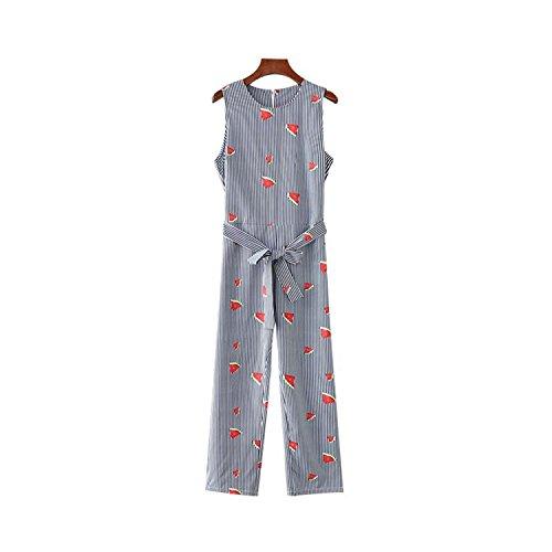(Puissant Unique Women Watermelon Print Striped Jumpsuits Sleeveless Bow tie o Neck Playsuits,Medium,Aspicture)