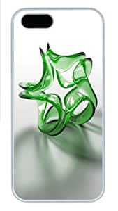 3D green crystals PC Case Cover for iPhone 5 and iPhone 5s ¡§C White