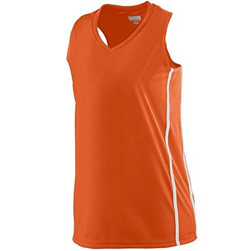 Augusta 1183A Girls Winning Streak Racerback Jersey - Orange & White, Medium