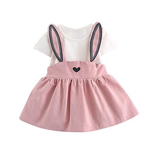 Easter Outfits Baby Girl Rabbit Dress Short Sleeve Causal Sundress Bunny Skirt Set Playwear Clothes (Pink, 12-18 Months) ()
