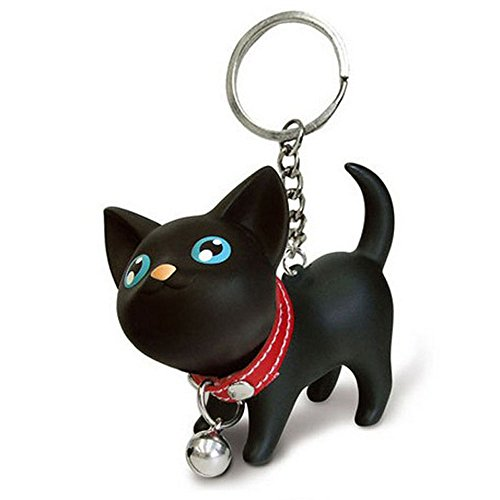 Suppion Cat Kitten Keychain Keyring Bell Toy Lover Key Chain Rings for Handbag (Black) 41hTQNZv58L