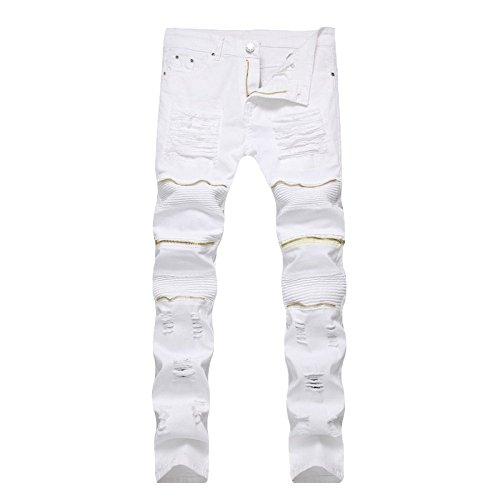 Jeans Strappati Denim Lampo Fit In Fori Da Stretch Dritto Skinny Pantaloni Leisure Chiusura Casual Uomo Cotone White Di AWHBYAwqxr