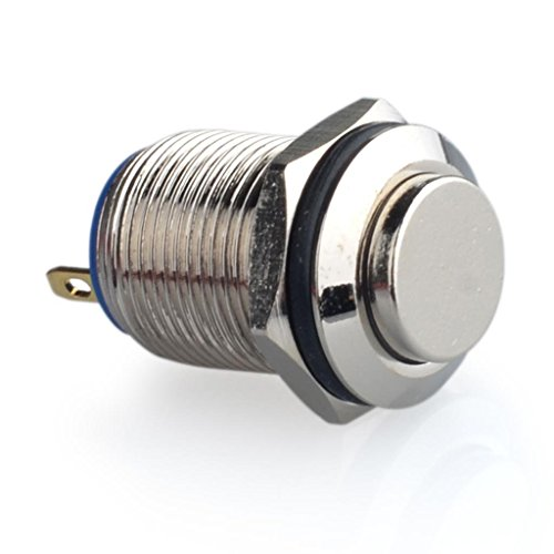 Momentary Push Button Switch, URTONE UR125, 1NO SPST DC/AC 36V 2A Metal Shell Suitable for 12mm 1/2 Mounting Hole (Silver)