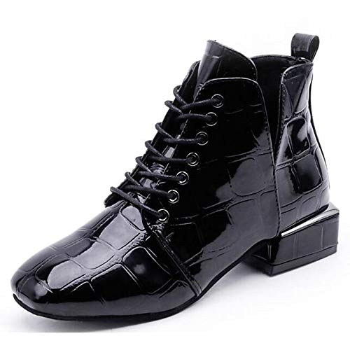 Black US8   EU39   UK6   CN39 Black US8   EU39   UK6   CN39 Women's shoes Patent Leather Fall Winter Comfort Combat Boots Boots Chunky Heel Booties Ankle Boots Black
